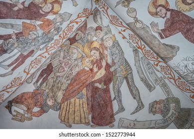the Betrayal of Christ, a wall-painting from about the year 1500 in the church of St. Mary, Elsinore, Denmark, May 14, 2019