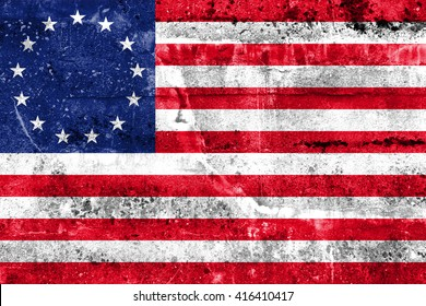 Betsy Ross Flag, painted on dirty wall. Vintage and old look.