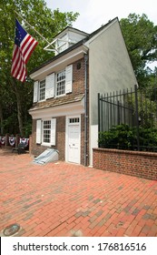 The Betsy Ross House on East Third Street, Philadelphia, Pennsylvania, where Betsy Ross created first American flag in 1778