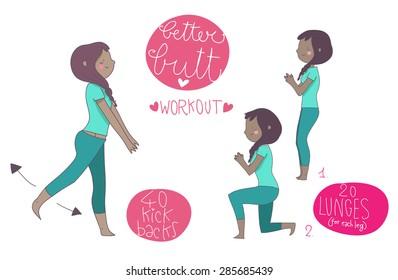 better butt illustrated exercises, black woman
