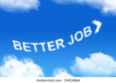 better job - cloud word on blue background