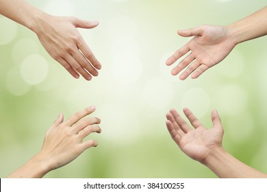 better life ideal concept of collaboration man hand reaching together.