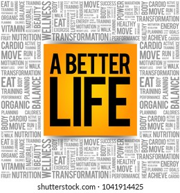 A Better Life word cloud background, health concept