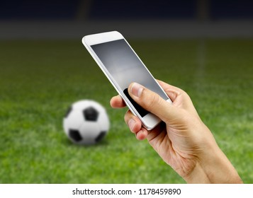 betting man through his smart phone in at stadium