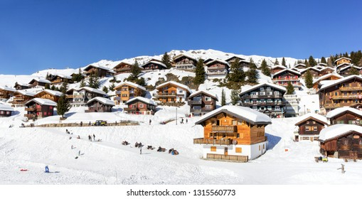 Bettmeralp, Switzerland - February 16. 2019: Panorama of the Swiss alps village Bettmeralp in Canton Vaud. It is one of the famous winter sport resort near the Unesco heritage Aletch Glacier.