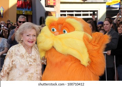 "Betty White and Lorax at the ""Dr. Seuss' The Lorax"" Premiere, Universal Studios, Universal City, CA 02-19-12"