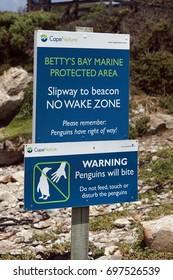 BETTY'S BAY, SOUTH AFRICA - CIRCA NOVEMBER 2016: Sign for the African penguin (Spheniscus demersus) colony in Betty's Bay, near Cape Town, South Africa