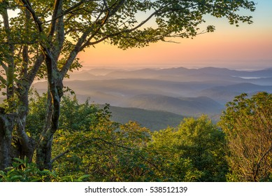 Between autumn and summer, overlooking the Blue Ridge Mountains from the Blue Ridge Parkway in North Carolina