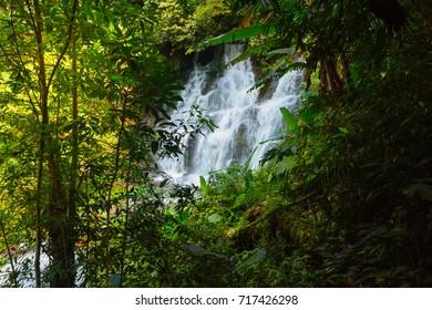 Between Level 2, Level 3 Man Dang Waterfall, Phuhinrongkla National Park, Petchaboon Province, Thailand, in Rainy season