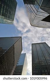 between skyscrapers of new york