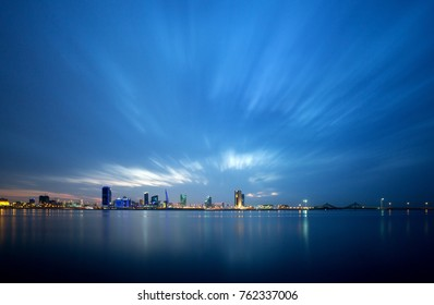 Beuatiful Bahrain skyline during blur hours after sunset