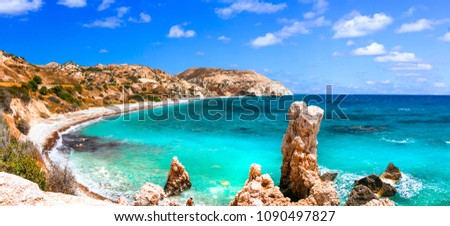 Beuatiful beaches of Cyprus - Petra tou Romiou, famous as a birthplace of Aphrodite