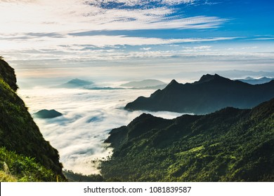 beuatiful landscape of the mountain at phucheefah in front of with sea of fog in thailand.