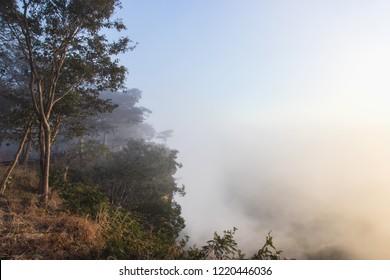 Beuatiful view of fog in the sunrise at Pha Mor E-Dang, Sisaket, Thailand.