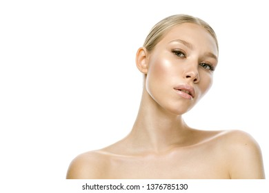 beuaty portrait of young attractive caucasian woman blond isolated on white studio shot lips face head and shoulders looking at camera
