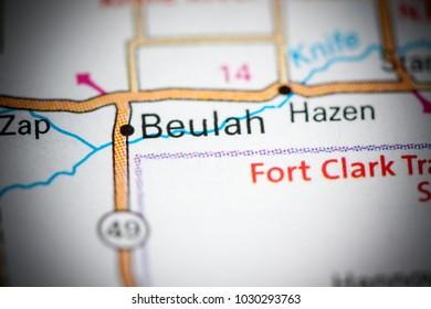 Beulah. North Dakota. USA on a map.