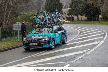 Beulle, France - March 10, 2019: The Car of Vital Concept-B&B Hotels driving on Cote de Beulle during the stage 1 of Paris-Nice 2019.