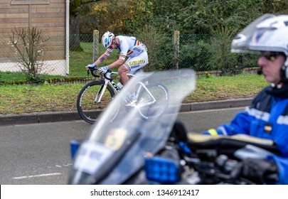 Beulle, France - March 10, 2019: The Romanian cyclist Eduard Grosu of Delko Marseille Provence Team riding on Cote de Beulle during the stage 1 of Paris-Nice 2019.
