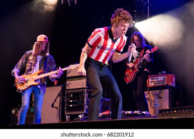 Beuningen, the Netherlands - June 23, 2017: Matt Shultz of US rock band Cage The Elephant performs live on stage at Down The Rabbit Hole music festival.