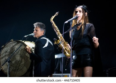 Beuningen, the Netherlands - June 24, 2016: British singer PJ Harvey performs live on stage at Down The Rabbit Hole Festival.