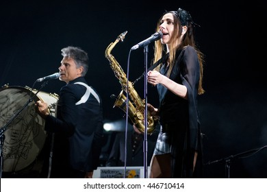 Beuningen, the Netherlands - June 24, 2016: British singer PJ Harvey performs live on stage at Down The Rabbit Hole Festival.