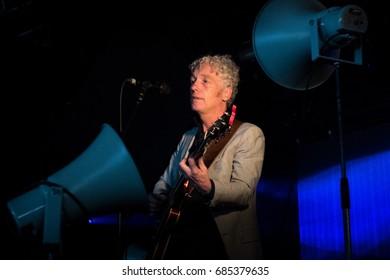 Beuningen, the Netherlands - June 24, 2017: Dutch singer Erik de Jong aka Spinvis performs live on stage at Down The Rabbit Hole music festival.