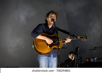 Beuningen, the Netherlands - June 24, 2017: Robin Pecknold of US indie folk band Fleet Foxes performs live on stage at Down The Rabbit Hole music festival.