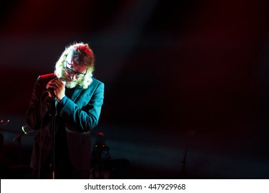 Beuningen, the Netherlands - June 25, 2016: Matt Berninger of US indie rock band The National performs live on stage at Down The Rabbit Hole Festival.