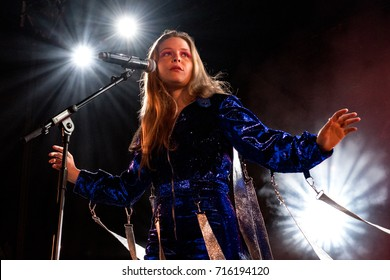 Beuningen, the Netherlands - June 25, 2017: US singer-songwriter Maggie Rogers performs live on stage at Down The Rabbit Hole music festival.