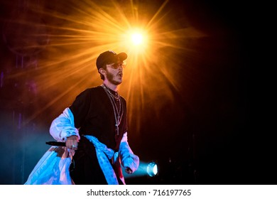 Beuningen, the Netherlands - June 25, 2017: Max Colombie of Belgian electropop act Oscar and the Wolf performs live on stage at Down The Rabbit Hole music festival.