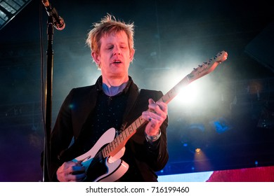 Beuningen, the Netherlands - June 25, 2017: Britt Daniel of US rock band Spoon performs live on stage at Down The Rabbit Hole music festival.