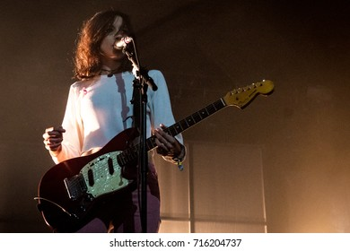 Beuningen, the Netherlands - June 25, 2017: Theresa Wayman of US indie rock band Warpaint performs live on stage at Down The Rabbit Hole music festival.
