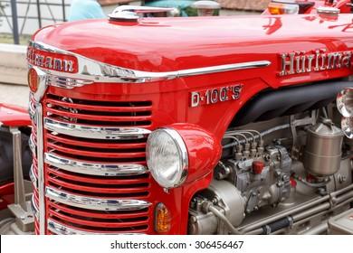 BEUREN, GERMANY - AUGUST 15, 2015: Refurbished Huerlimann Tractor at the Museum in Beuren