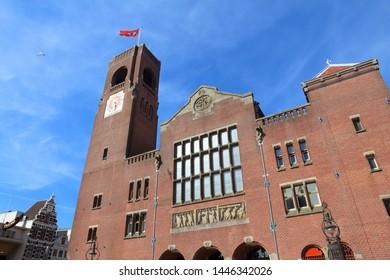 Beurs van Berlage building in Amsterdam, Netherlands. It is a former commodity exchange at Damrak street.