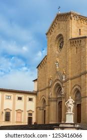 Beutiful Arezzo gothic Cathedral with renaissance monumento to Ferdinando I Medici, Grand Duke of Tuscany, in the city historic center