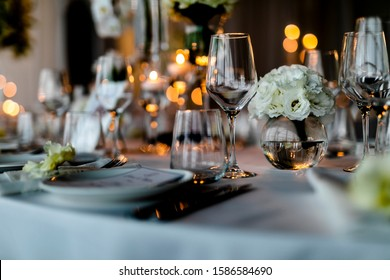 Beutiful setup of wine glasess for dinner, party, weddings or chrismas