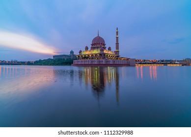 Beutiful Sunrise at Putra Mosque, Putrajaya with perfect reflection