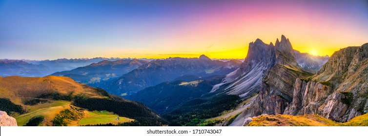 Beutiful sunset panorama of Seceda mountain peak. Trentino Alto Adige, Dolomites Alps, South Tyrol, Italy, Europe