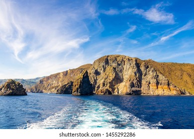 beutiful view at amazing rocks and sky by the sea before evening, landscape of mediterranean