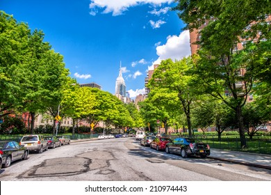 Beutiful view of New York skyline and avenue from Chelsea Park area - Manhattan in summer season.