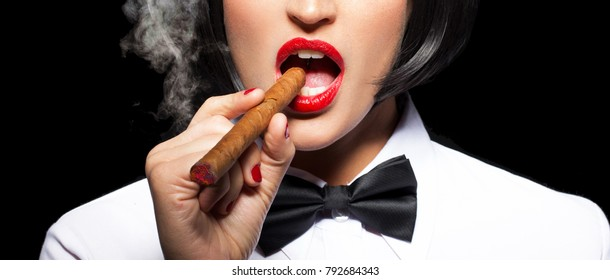 Beutiful woman smoking cigar with red lips banner, isolated on black background