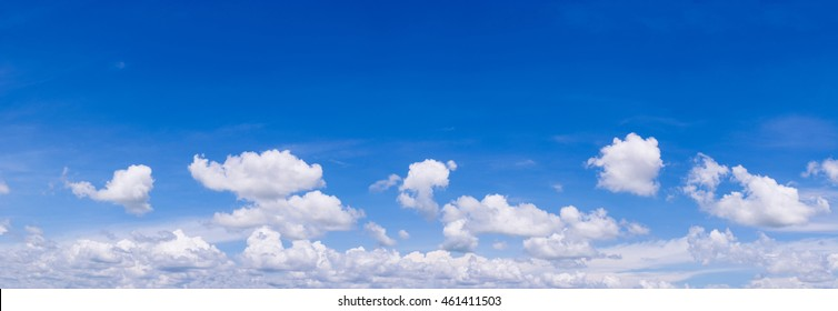 Beutyful blue sky with white cloud. Panorama. - Shutterstock ID 461411503