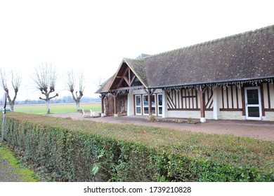 Beuvron-en-Auge, France - January 2, 2020: Landscape of Beuvron-en-Auge in France