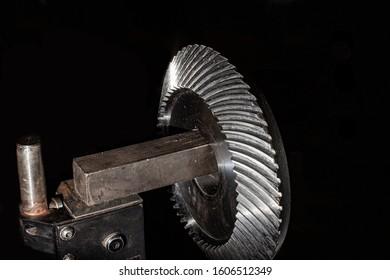 Bevel gear of special gearbox for conveyor belt.