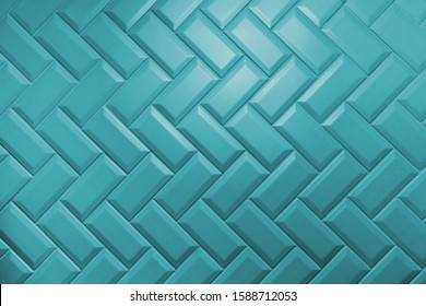 Beveled aqua menthe matt ceramic tiles pattern laid herringbone