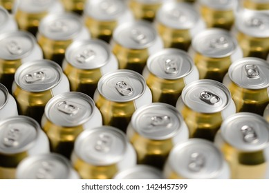 Beverage drinking tin cans bunch row background