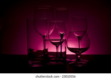Beverage glasses with colored background