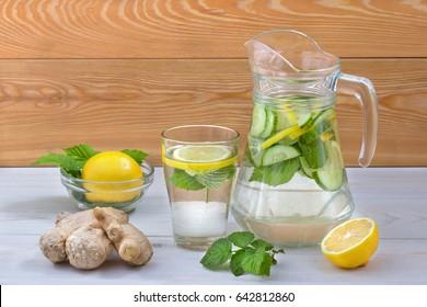 Beverage with lemon,cucumber,mint.Healthy beverage
