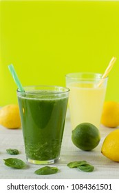 Beverage made from fresh lemons, lime, spinach and matcha