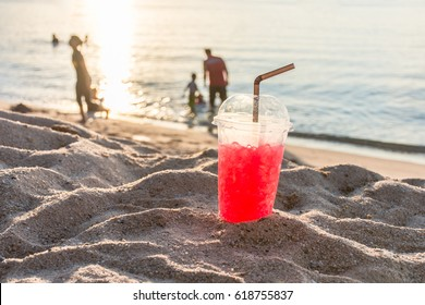 Beverage Red, sweet, cool drink in the summer for everyone at the beach, the evening during the holidays